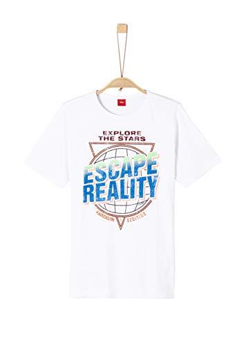 s.Oliver Jungen 62.906.32.5770 T-Shirt, Weiß (White 0100), 164 (Herstellergröße: L/REG)