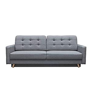mb-moebel Schlafsofa Kippsofa Sofa mit Schlaffunktion Klappsofa Bettfunktion mit Bettkasten Couchgarnitur Couch Sofagarnitur - Carla (Hellgrau)