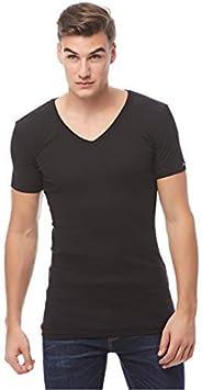 COTTONIL Men's Half Sleeve V Neck Undershirt Derby, M, B