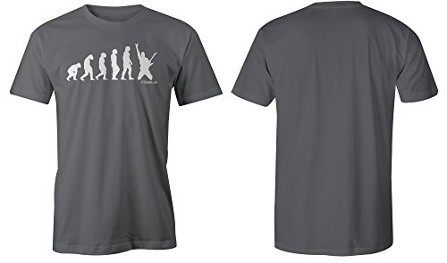 Evolution Guitarist ★ Rundhals-T-Shirt Männer-Herren ★ hochwertig bedruckt (06) dunkelgrau