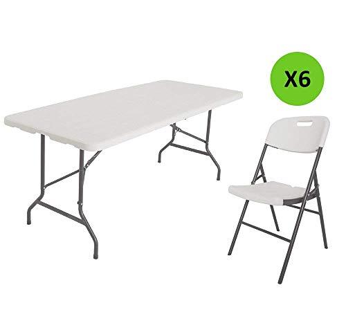 Xone tavolo pieghevole + 6 sedie (86x45x50cm) stampo legno bianco con struttura in metallo e piano in resina, dimensioni tavolo 180x75,5x74cm