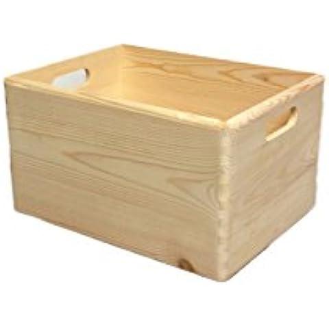 2 x Nuevo grande cofre de madera llana - Cofre de almacenamiento - Caja para jugetes - Caja para herramientas - Arte decoupage 39.5x 30x 24cm