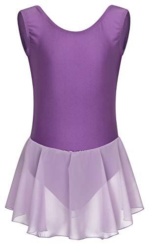 tanzmuster Kinder Ballettkleid Polly aus glänzendem Lycra mit Breiten Trägern und Chiffon Röckchen in Lavendel, Größe:92/98 (Lycra Gewebe Für Tanz Kostüm)