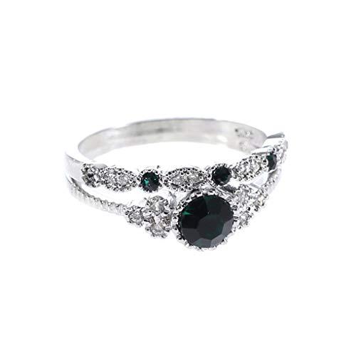 IMHERE W U 2ST / Set Frauen-Mädchen-Smaragd-Intarsien Zirkon Ring Hochzeit Verlobungsring-Kristallschmucksache-Zusatz 6/7/8/9/10 US-Größe (Größe 8-hochzeit Ringe Für Frauen)