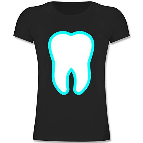 Karneval & Fasching Kinder - Farbiger Zahn - Zahnfee Kostüm - 164 (14-15 Jahre) - Schwarz - F131K - Mädchen Kinder T-Shirt