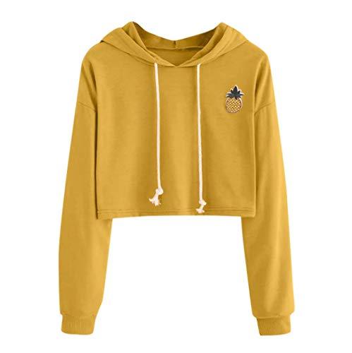 iHENGH Damen Sweatshirt Tops,Women Hoodie Appliques Ananas Drucken Sweatshirt Langen Ärmel Pullover Bluse
