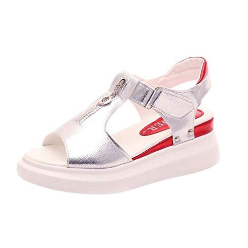 Damen Peep Toe Front Zipper Ausschnitt Sandalen, Casual Fashion Klett Nieten Outdoor Platform Wedge Front-peep-toe