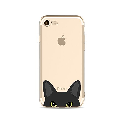 iPhone 7, Katze Hund Cute Series Colorful Gummi Flexible Silikon Tasche Bumper für Apple Clear Cover-Tiffany