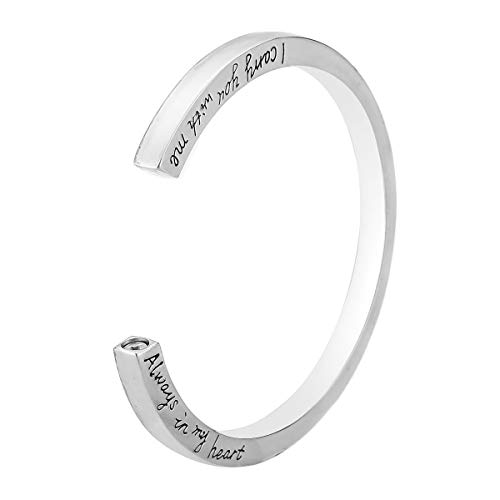 OTGOOT Urne Halskette Asche Halskette für Öffnen Sie Armband Japan und Südkorea einfache glänzende Brief Urne Box offene Armbänder Lieben können Armband Großhandel, Silber öffnen