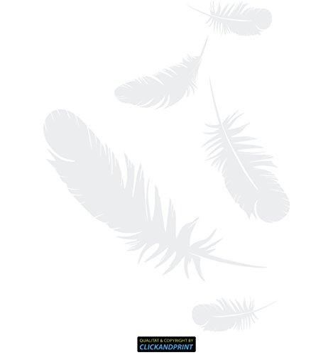 Weiße Feder-federbett (CLICKANDPRINT Aufkleber » Federn, 40x29,6cm, Weiß • Wandtattoo / Wandaufkleber / Wandsticker / Wanddeko / Vinyl)
