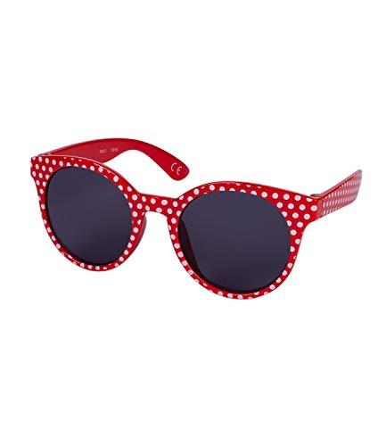 SIX Kids Sonnenbrille, UV Filter, Rund, Oversized, Punkte, rot, weiß (128-833)