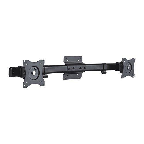 PureMounts PM-OFFICE-AD Dual Screen Adpater für 2 Monitore 33-69 cm (13-27 Zoll), neigbar: -45° bis 45°, schwenkbar: -15° bis 15°, drehbar: -180° bis 180°, Kabelmanagement, Traglast: max. 10kg, VESA 100x100, schwarz