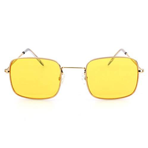 HJL Kleine quadratische Sonnenbrille, Flache transparente Sonnenbrille mit Metallrahmen und Federscharnieren, Sonnenbrille für Männer Frauen Aviator Polarisierter Metallspiegel UV 400 Linsenschutz,D