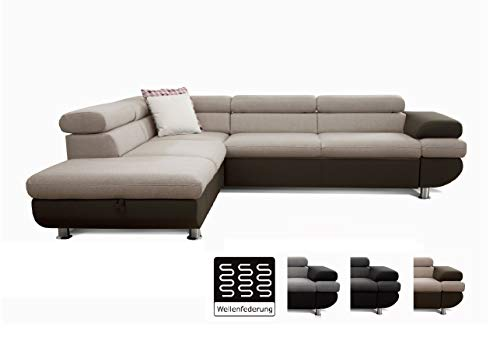 Cavadore Ecksofa Caponelle mit Ottomanen links / Moderne zweifarbige Couch inkl. Kopfstützen / 267 x 72 x 226 cm (BxHxT) / Strukturstoff beige - braun