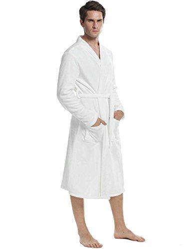ADOME herren Bademäntel microfaser und Coral Fleece mit 2 aufgesetzten Taschen und Bindegürte herren Nachthemd Weiß