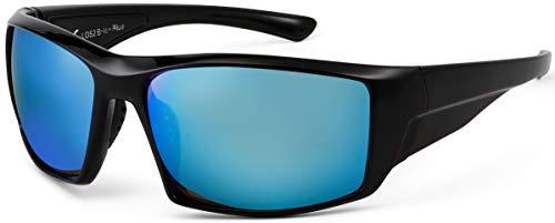 La Optica B.L.M. UV400 CAT 3 Unisex Damen Herren Sonnenbrille Sport Leicht Tennis - Einzelpack Glänzend Schwarz (Gläser: Hellblau verspiegelt)