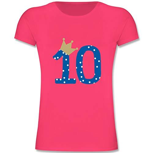 Geburtstag Kind - 10. Geburtstag Krone Junge Zehnter - 152 (12-13 Jahre) - Fuchsia - F131K - Mädchen Kinder T-Shirt