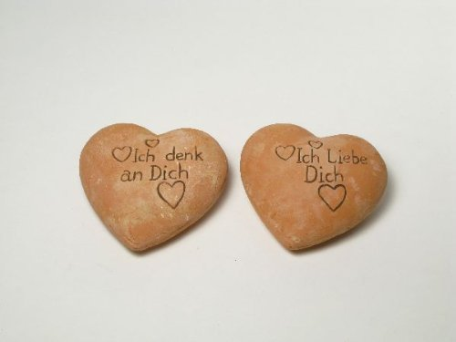 "4x Terracotta-Herz ""Ich denk an dich / Ich liebe dich"" 11cm"