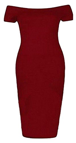 Chocolate Pickle ® Femmes Encolure bateau bodycon robe 44-54 Wine
