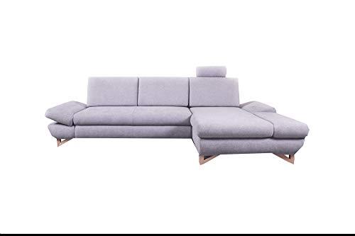 mb-moebel Ecksofa mit Schlaffunktion Eckcouch mit Bettkasten Sofa Couch L-Form Polsterecke Merida (Hellgrau, Ecksofa Rechts)