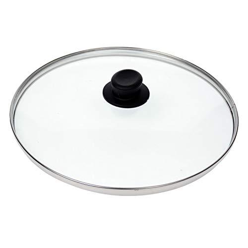Kerafactum® Topf Pfannen Deckel aus Glas Topfdeckel Pfannendeckel Glasdeckel mit Kunststoffgriff, Edelstahlring und Entlüftungsloch in verschiedenen Größen und Farben (16, schwarz)