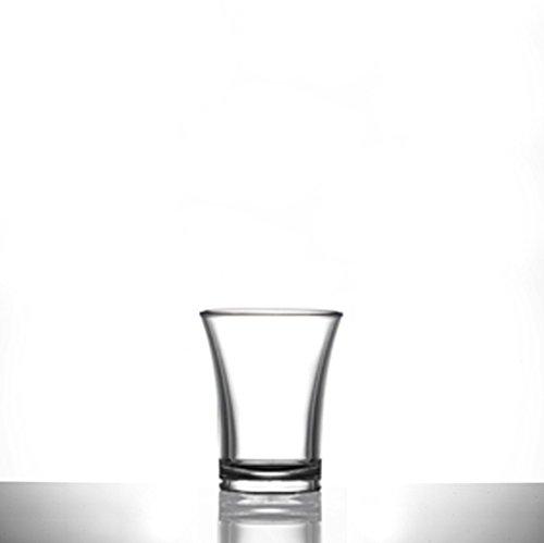 Schnapsgläser aus Kunststoff Glas X 100-25ml/2.5cl   transparent Polystyrol-Drinkware Reichweite   inkl. 4passende Papier Cocktail Untersetzer