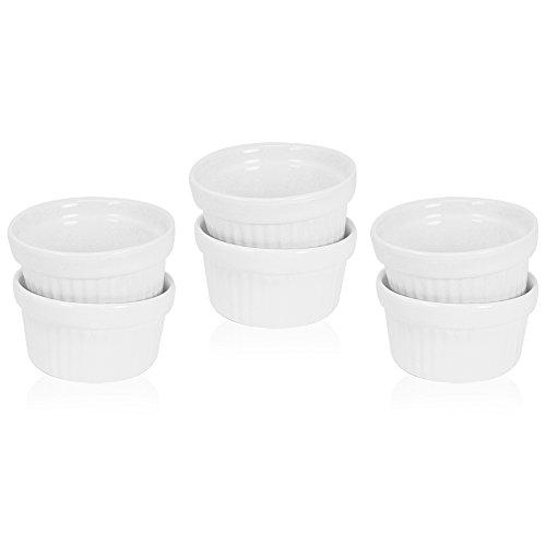 COM de Four® ragout Fin de cuencos de cerámica y forma,–Fuente para pasteles Moldes para por ejemplo Crema Brulee, en blanco, 140ml 06 Stück