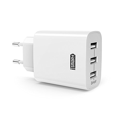 RAVPower Caricatore USB da Muro a 3 Porte (30W, 5V/6A), con Output Massima Fino a 2.4A, Compatto per iPhone, iPad, Huawei, Samsung Galaxy, Tablet e Altri Dispositivi USB (Bianco)