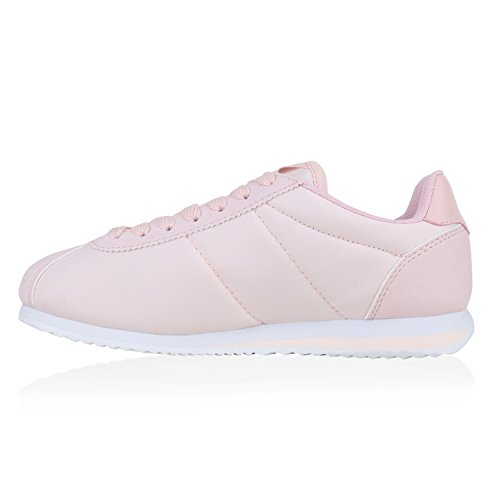 Damen Herren Sportschuhe Lederoptik Laufschuhe Sneakers Gesteppt Rosa