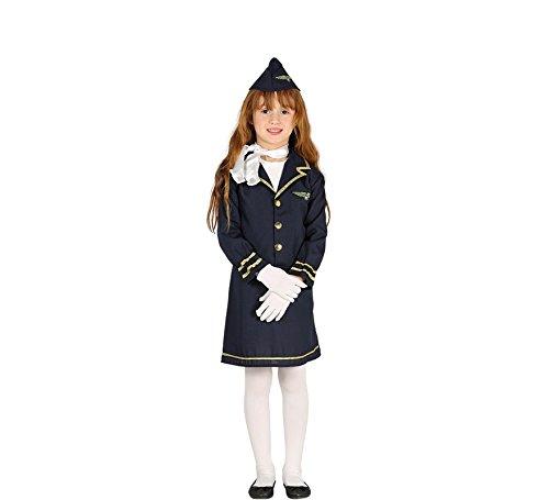 Kinderkostüm Stewardess Sila Kleid blau Uniform Flugbegleiterin Berufe Fasching (5-6 (Berufe Uniformen Kostüm)