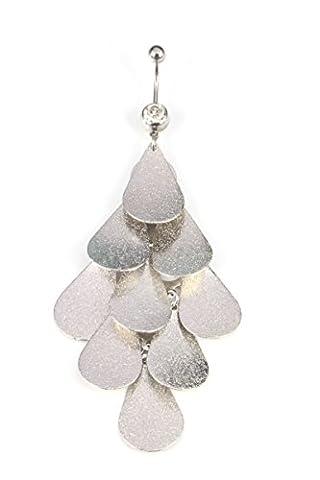 BeyDoDo Körperschmuck Edelstahl Damen Bauchnabelpiercing mit AnhängerBar Kette Kristall Silvber Piercing Bauchnabel Ring