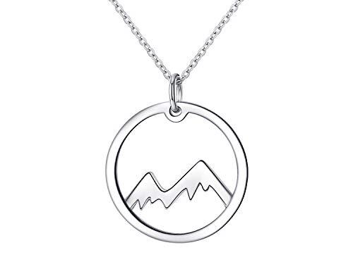 Kette für Damen Berge aus 925er Silber Mountain Halskette Gebirge Anhänger Rund Schmuck inbegriffen Geschenkbox