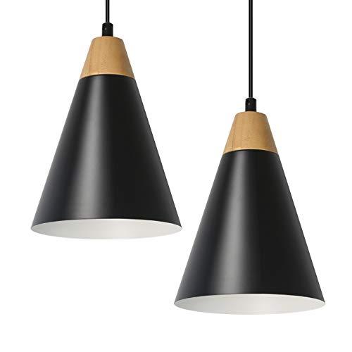 Tomons Pendelleuchte Hängeleuchte 2er-Pack kleine Pendellampe aus Holz Deckenlampe Schwarz für Wohnzimmer Esszimmer Restaurant -