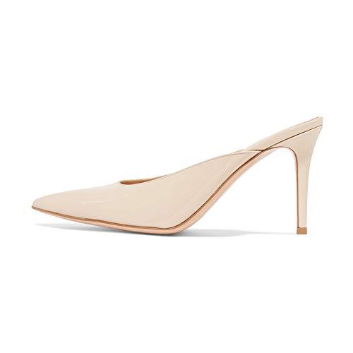 WHL.LL Damen Wildleder Schmaler hoher Absatz Einzelne Schuhe Spitz Geschlossener Zeh Slingback Sandalen Gemütlich Einzelne Schuhe (Absatzhöhe: 10cm), apricotPU,42