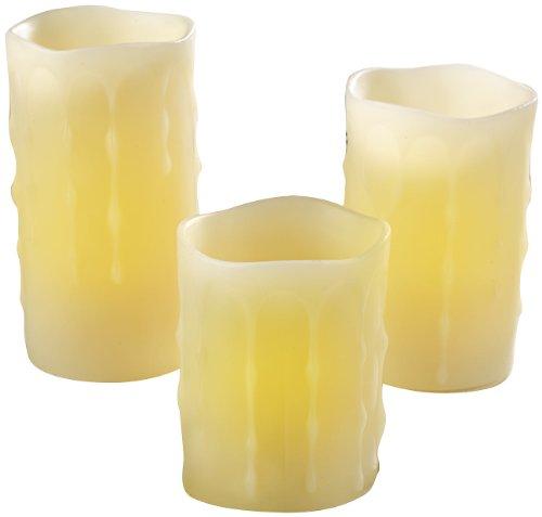 Britesta Elektro Kerzen: 3er-Set LED-Echtwachs-Kerzen, Timer und Fernbedienung bis 3 m Reichweite (LED Wachskerzen mit Timer)