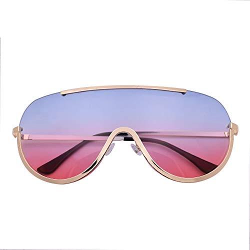 KIDYNO Oversized Shield Sonnenbrille Big Frame Alloy One Piece Coole Sonnenbrille Frauen Gold Clear Eyewear Gradient Shades