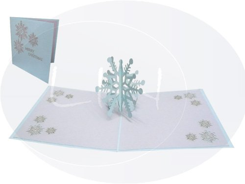 LIN - Pop Up 3D Biglietto di auguri per Natale, Fiocco di neve (#431)