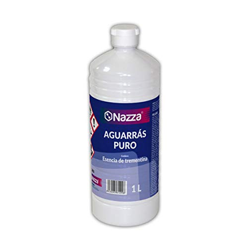 Aguarrás Puro Nazza | Esencia de Trementina | Aplicación y limpieza de pinturas sintéticas | Para aplicar pinturas al disolvente | Envase de 1 Litro