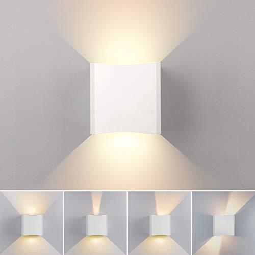 Einstellbare Unten Gesetzt (LED Wandleuchte Innen Aussen 12W Modern Wandlampe mit einstellbar Abstrahlwinkel Design Wasserdichte IP65 AC85V-265V LED Wandbeleuchtung 2700K Warmweiß)