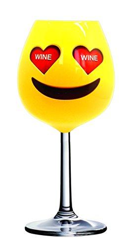 DCI X-Large Emoji-Herz Augen Wein Glas (X-large, Wein)