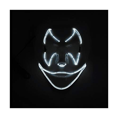 YOIO LED-Maske Fledermaus-Smiley-Party-Party EL Kaltlicht-Strahlenmaske, weiß