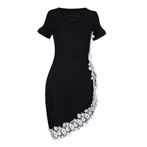 KPILP Rockabilly Kleid Damen Abendkleid Kleid Fashion Plus Size Schulterfrei Spitze Kreuz Asymmetrische Applikationen Kleid Flapper Partykleid(Schwarz,EU-56/CN-5XL
