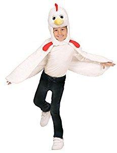 kostüm Huhn aus Plüsch, Umhang mit Kapuze und Maske (Huhn Maske Für Kinder)
