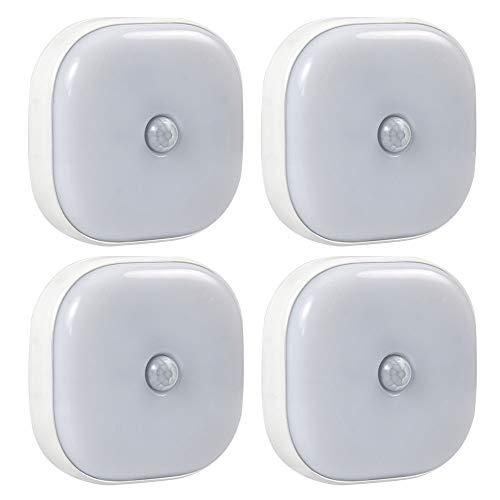 DASKOO 4 pezzi 1W Motion Sensor+Light Control Luce notturna a LED Bianco Caldo 3500K, DC 3V, Sensibilità Distanza 4-8M