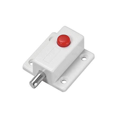 ZCHXD Door Bolt Lock, 2-inch Plastic Sliding Flush Barrel Latch with Switch Button (White)