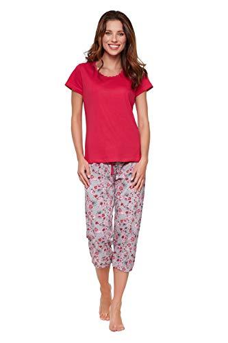 Moonline moderner und bequemer Damen Capri-Pyjama, mit weicher Baumwolle, pink, Gr. L (44/46) -