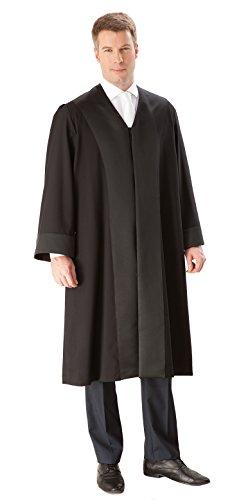 Die Robe - schwarze Rechtsanwalts-/Anwaltsrobe für Herren aus reiner Schurwolle mit Atlas Besatz - Größe XL (52/54)
