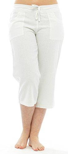 Hose mit einer 3/4Länge für Damen und Frauen, aus Leinen mit Gummizug in der Taille Gr. 36, weiß (Hose Womens Weiß Leinen)