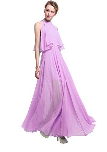 YueLian Damen Erwachsene Sommer Lange Kleid Halsträger Partykleider in drei Farben Lila