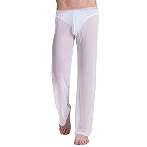 iiniim Mens Ventilation See-through Pants Sportswear Loose Trousers Underwear Casual Clothing White